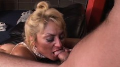 Chubby Granny With Big Boobs Trades Head And Gets Her Cunt Nailed