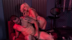 Busty blonde in stockings feeds her hunger for hard meat in the club