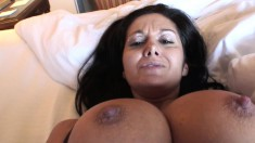 Stacked brunette milf with a heavenly ass enjoys a long stick in POV