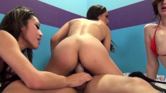 Three attractive young babes take turns bouncing on a throbbing stick
