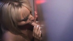 Blonde cutie Jasmine receives huge loads of hot semen from strangers