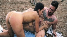 Big Breasted Brunette Slut Gets Pounded By Two Studs In The Outdoors