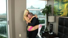 Petite blonde nympho seduces a business guy and enjoys his long shaft