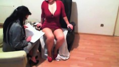 MILF sucks on her big saggy boobs and dancing