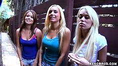 Mariah Madysinn, Kaci Starr and Rebecca Blue meet a dude on a hut and suck his horny cock