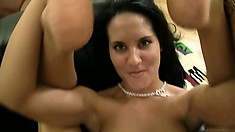 She spreads her lovely legs wide open and gets welcomes that cock deep in her peach