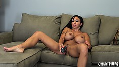 Busty brunette slut Jewels Jade just can't get enough of that dildo
