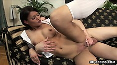 His cock feels nice in her tight schoolgirl slit, but she really wants it in her ass