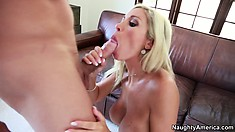 Stacked blonde Evita Pozzi makes the moves to bring her fantasies to fruition