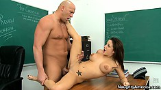Charity chomps on her prof's cock, gets pumped and then rides on top