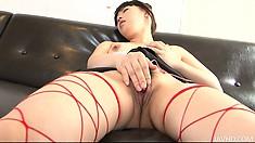 Akane Ozora takes a sexy shower while wearing kinky fishnets