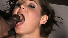 Brunette MILF gets her mouth filled to the brim with black cum