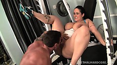 Chubby porn star Carmella Bing gets a sex workout in the gym