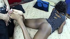 Smoking hot black bitch uses her feet to tease her white sub