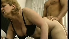 Her ancient cunt sees action once more from a young hard cock