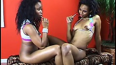 Black lesbian bitches get a bit rough when they play together