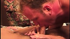 Fresh college studs gets down with an older man in a hotel room