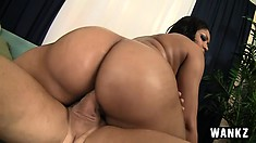 Curvy ebony babe Carmen Michaels loves to get pounded hard from behind