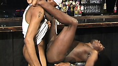 A pair of hung as hell black guys help each other to bust a nut