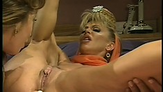 Sexy blonde lesbians taste each other's cunts and have fun with dildos