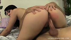 Fine-featured scarlet woman Luna Kitsuen is good at fucking cocks