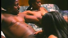 Hung black guy has two wonderful caramel babes sharing his huge stick