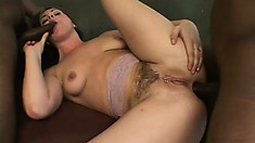 Horny blonde gets set up with two black dicks banging her holes