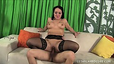 Lusty whore licks guy's ass and then gives him wonderful fuck