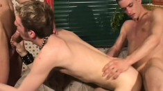 A trio of feisty young men show off their skills on each other's cocks