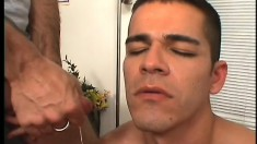 Two gay studs get down and dirty in the middle of the office