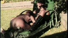 Two ladies in the tropics have some pussy loving fun outside in the shade