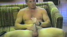 Horny dude plugs his tight little butthole as he jerks himself off