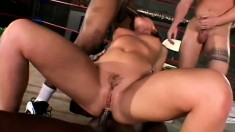 Pure whore with shaved cunt gets stretched by monstrous black poker
