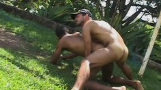 Horny gay lovers sucking each other's cocks and fucking hard outside