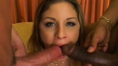 Attractive harlot with fair hair Monica gets DP experience from two lusty hounds
