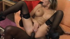 His big black cock barely fits in her mouth, but fits nicely in her twat