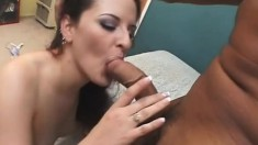 Horny brunette gets her tight cumhole penetrated with a big black dong
