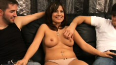 Lustful brunette cougar Gabriella has two young studs fulfilling her sexual desires