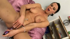 Long-legged Alex is eager to get naked and drill her snatch with a dildo