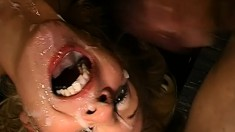 Crazy bitches get pounded and covered in cum and swallow it too