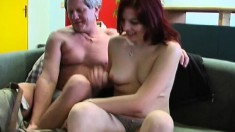 Lovely young redhead gets naughty and bangs an older stallion
