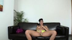 Sexy, big tit brunette goes on camera for the first time and fucks like a pro