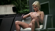 Blonde cock-lover gets turned on and uses her fingers for pleasure