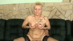 Lustful old slut in black stockings can't stop fucking a large prick
