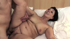 Slutty milf tongues her young boyfriend's ass and fucks his hard dick