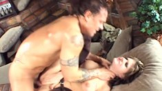 Irresistible brunette Tyla Wynn knows how to pleasure a hung guy