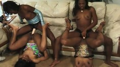 Four attractive black lesbians use various sex toys to find pleasure