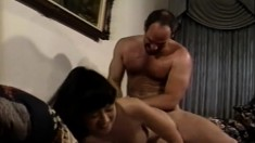 Dazzling Oriental girl gets her hairy cunt eaten out and fucked hard