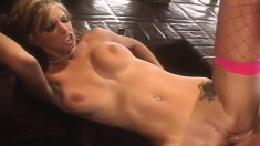 Wild blonde in fishnet stockings Brooke Banner loves it rough and deep