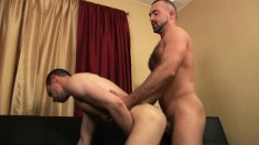 Hunky bear blows his partner's big dick and then fucks his tight butt